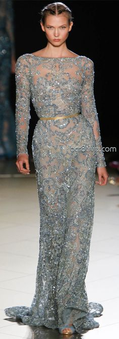 Sheer Beaded Blue Long Sleeve Designer Gown - Elie Saab Couture Fall Winter 2012 Milan Fashion Week MFW