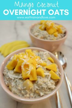 Mango Coconut Overnight oats make the perfect fast, easy and healthy breakfast that you can prep the night before and quickly grab and eat in the morning. Perfect for those hectic mornings, or enjoying on the go, click here for the recipe! Healthy breakfast recipes | overnight oats | vegan recipes | clean eating