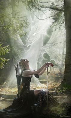 Fantasy, inspires a ranger or warrior devoted to spirit dragons Fantasy Warrior, Fantasy Dragon, Dragon Art, Woman Warrior, Dragon Warrior, Celtic Fantasy Art, Dragon Kiss, Dragon Fighter, Elf Warrior