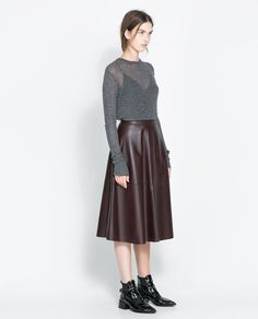 EXTRA-FINE SWEATER by ZARA ans full leather skirt