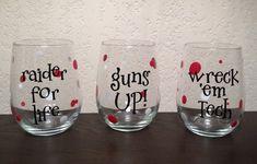 Set of 3 Texas Tech Wine Glasses - Raider for Life, Guns Up, Wreck 'Em Tech on Etsy, $25.00