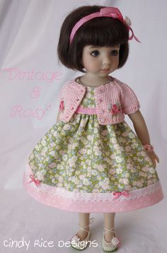 """Vintage & Rosy"" for the Little Darlings – Cindy Rice Designs Pretty Dolls, Cute Dolls, Beautiful Dolls, Beautiful Outfits, Embroidered Roses, Polka Dot Fabric, Little Darlings, Doll Face, Toys For Girls"