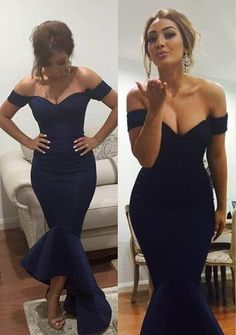 $119-Off-shoulder Dark Navy Blue Prom Dresses Short Sleeves Hi-lo Mermaid Sexy Evening Gowns-Babyonlinedress.com