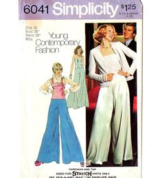 Simplicity 6041 Misses Cardigan, Camisole, Extra Wide Leg Pants 70s Vintage Sewing Pattern Size 16 Bust 38 Young Contemporary by patternmania on Etsy