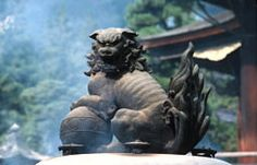 Shishi - Lion Protector in Japanese Buddhism and Shintoism Japanese Shrine, Japanese Temple, Japanese Buddhism, Stone Lion, Fu Dog, Lion Dog, Japanese Aesthetic, Historical Artifacts, Japanese Design