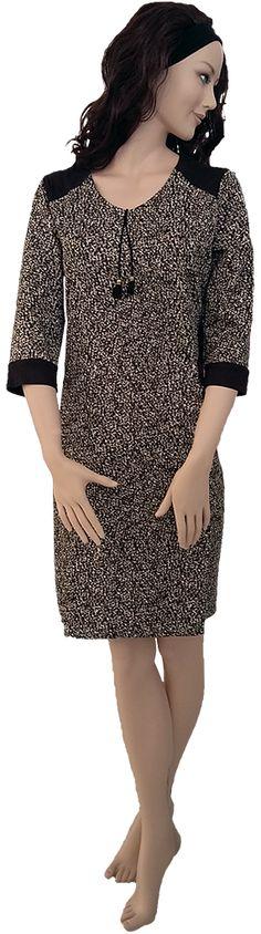 Vestido manchas, con detalles en antelina oscura, Tallas 46, 48, 50 y 52.