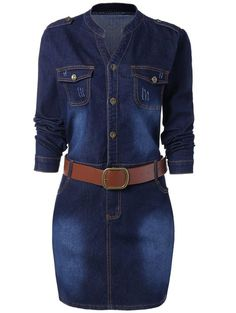Plus Size Fitted Denim Jean Dress with Belt - BLUE XL