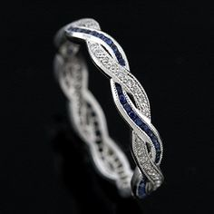 Diamond Sapphire Infinity Eternity Wedding Ring Band 18K White Gold