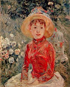 In a villa on the beach by Berthe Morisot Giclee Fine ArtPrint Repro on Canvas