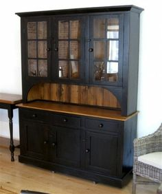 Barn Wood Farmhouse Hutch In Black Finish, same idea but in a cream and walnut finish