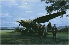 They Landed by Moonlight by Robert Taylor A pilot from No. 161 Squadron based at Tangmere, readies his Lysander aircraft for take-off in a . Aircraft Images, Ww2 Aircraft, Military Aircraft, Westland Lysander, Aircraft Painting, Airplane Art, Royal Air Force, Aviation Art, Military Art