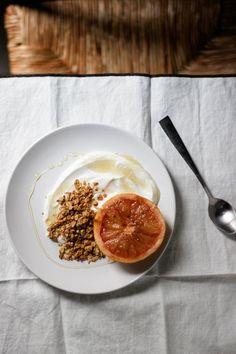 Roasted Grapefruit with Granola, Honey and Yogurt