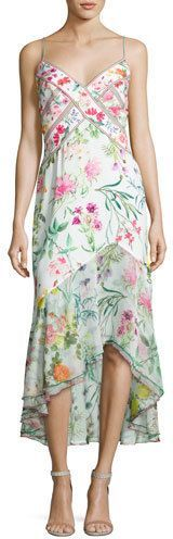 Tadashi Shoji Sleeveless Floral Chiffon Midi Dress, White/Multicolor