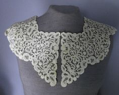 19th C Belgian Rosaline Perle Bobbin Lace Large Collar CW Collector Bride   eBay