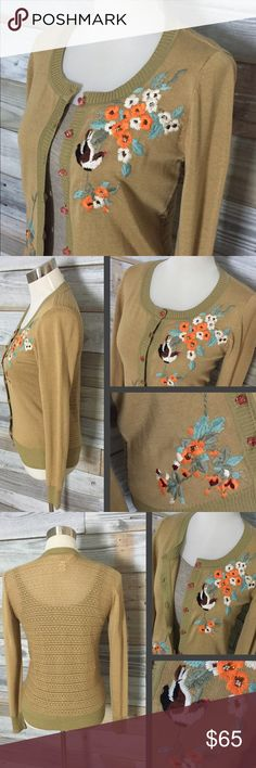 {Nick & Mo} Embroidered Cardi with Crystal Buttons Gorgeous little cardigan from Anthropologie label Nick & Mo, this amazing piece is a deep mustard color & features both a detailed crochet back AND the most beautifully intricate silk thread embroidery. Lovely scene of birds, flowers, & vines works its way across the front, covering both top right breast area & lower left waist. Topped off by a little playful bling in the form of coral pink crystal buttons...the perfect piece to elevate any…