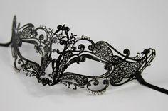 Black Masquerade Mask/ Laser cut  Venetian Masquerade Mask Phantom of the Opera Inspired Unisex, Mardi Gras, Wedding, Bridal Shower, Prom by ForbiddenIdentity on Etsy https://www.etsy.com/listing/183439869/black-masquerade-mask-laser-cut-venetian