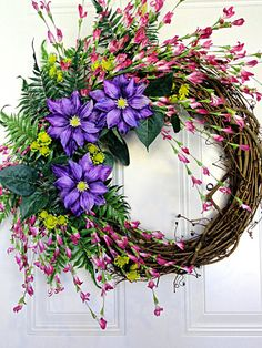 Clematis Wreath Pink Purple Yellow Wreath Spring Front Door Easter Wreath by KristinRebecca