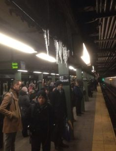 it's so cold in NYC icicles are forming inside the train station!