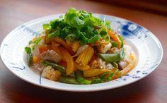 God mad og søde sager: Grøntsager i wok m. svinemørbrad og chilisauce