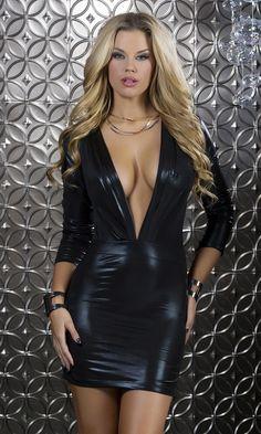 Plunging black leather mini dress