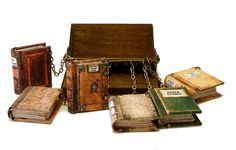 """A Chained Library of Cthulhu Mythos Books from Bo Press  Miniature Books.                                       2 1/8"""" wide x 2 3/8"""" deep x  1 1/2"""" tall. The books themselves are 1"""" x  5/8"""""""