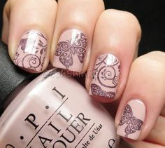 Nail art created by #OoohShinies using #BM718 #nailstamp #ShopBM