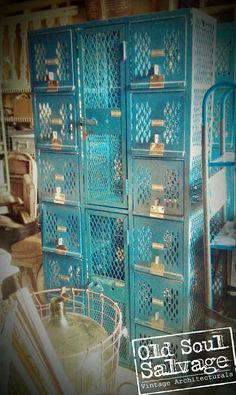 Vintage Blue Lockers have a great industrial look that is perfect for any room...even the garage!