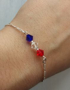 Red White & Blue Bracelet, 4th Of July Jewelry, Independence Day Jewelry, Patriotic Jewelry, Dainty Chain Bracelet on Etsy