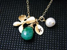 Gold Charm Initial Necklace May Birthstone by DanglingJewelry, $38.00