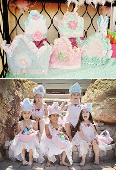 princess and the pea birthday party crowns and princess dresses
