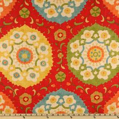 Eat in Kitchen cushion fabric. Richloom Cornwall Cadmium. fabric.com