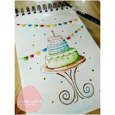 Aquarellliebe - Geburtstagskarte