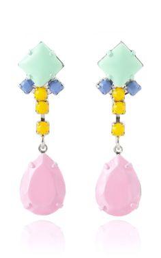 Tom Binns Soft Power Earrings With Pink Teardrop