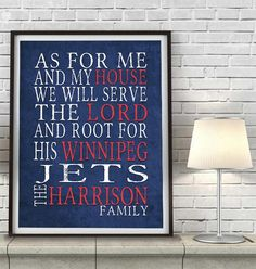 "Winnipeg Jets hockey inspired Personalized Customized Art Print- ""As for Me"" Parody- Unframed Print"