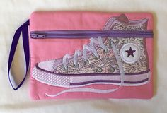 High Top Gym Boot Zipper Pouch Pink Fabric, Fabric Flowers, Purple Ribbon, Pink Gingham, Cotton Quilting Fabric, Bag Patterns, Applique Designs, Deep Purple, Zipper Pouch