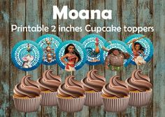 Moana Cupcake Toppers, DIY Moana Cupcake Toppers, Moana birthday | PapelPintadoDesigns - on ArtFire