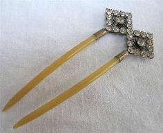 ANTIQUE VICTORIAN FAUX AMBER CELLULOID & RHINESTONE HAIR COMB HAIR PIN c1890