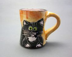 Black and White Tuxedo Cat Pottery Clay Mug 8 ounce / Hand Thrown $22.00 #etsy #etsymudteam #claylickcreekpottery