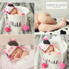 """Paisley Mae Lynn's Newborn session. In studio portrait session. Look at this 13 day old sweet little baby with her """"cow"""" hat on! Baby Girls are so much fun!"""