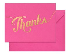 Pink and gold foil thank you cards