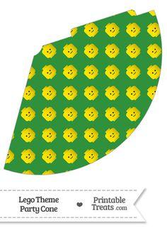 Green Lego Theme Party Cone--- https://www.pinterest.com/printabletreats/lego-theme-printables/