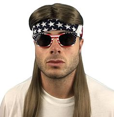 4 pc. Mullet Wig + Bandana + Sunglasses: 80s Mullet Wig, ...    Click through for more information on the product and price.