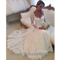Vintage Long Sleeve Wedding Gowns V Neckline Lace Mermaid Wedding Dresses Appliqued Garden Bridal Gowns Robe De Mariee Sirene-in Wedding Dresses from Weddings & Events on Aliexpress.com | Alibaba Group