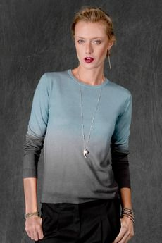 Dusty Blue Eiffel Tower Cashmere Dip Dye Fitted Sweater