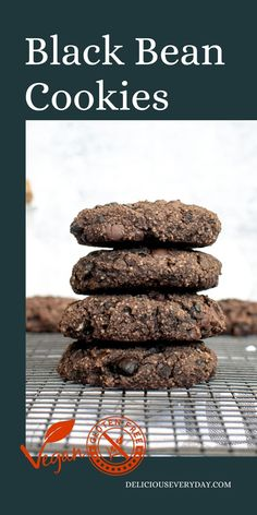 These soft, chocolate-y cookies are made with black beans. Cocoa powder and dark chocolate chips help give this cookie the sweet chocolate flavor, disguising the beans. Best Vegan Cookies, Gourmet Cookies, Healthy Vegan Desserts, Best Cookie Recipes, Vegan Dessert Recipes, Almond Recipes, Chocolate Shavings, Dark Chocolate Chips, Chocolate Flavors