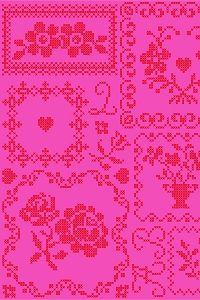 Cross Stitch Red/Pink wallpaper (pipstudio)