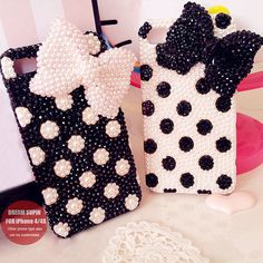 Polka Dot bow phone cover pearl phone case for by DreamSupin, $19.90