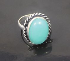 Chalcedony .925 Silver Oxidised Handmade  Ring Size 7.50 Jewelry JT644 #Handmade