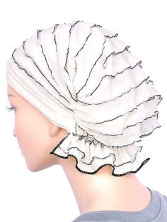 ABBEY-513#The Abbey Cap in Ruffle White with Black Trim