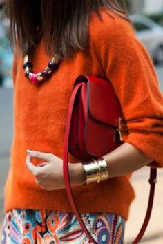 Orange, paisley and Celine. Colourful Outfits, Colorful Fashion, Red Outfits, Orange Fashion, Orange Color, Color Pop, Orange Red, Burnt Orange, Mode Style